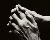 Black and White Photography - Hands Fine Art Photograph - Clasped Hands Print - Hands Portrait Art