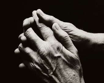 Black and White Photography - Hands Fine Art Photograph - Clasped Hands Print - Hands Portrait Art
