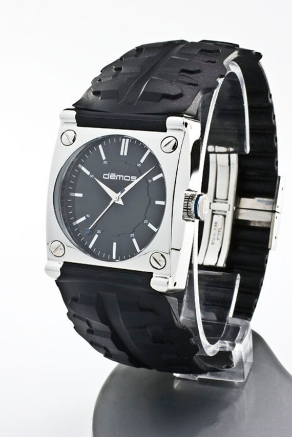 Mayans MC / Sons of Anarchy style - Motorcycle TREAD wristwatch - Tread w/ Polished Stainless Steel case