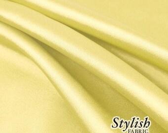 "60"" Banana Yellow Charmeuse Satin Fabric by the Yard, Charmeuse Fabrics, Charmeuse Satin, Bridal Wedding Satin Fabric- 1 Yard Style 2800"