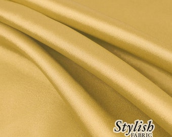 """60"""" Light Gold Charmeuse Satin Fabric by the Yard, Charmeuse Fabrics, Charmeuse Satin, Bridal Wedding Satin Fabric- 1 Yard Style 2800"""