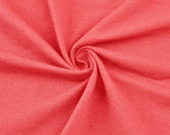 Coral Cotton Lycra Jersey Knit Fabric Combed 10oz Cotton Stretch Cotton Spandex Fabric by the Yard - 1 Yard Style 451