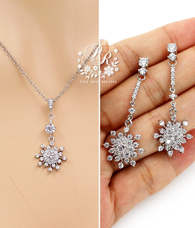 Wedding Jewelry set Zirconia Snowflake Necklace Earrings set