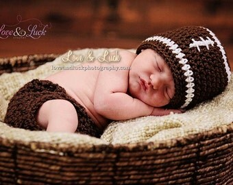 Newborn Football Hat and Diaper cover Photography prop Fall Infant Baby