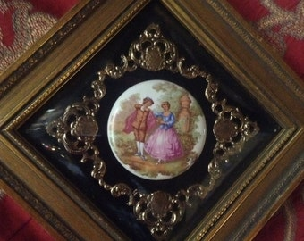 Country French Victorian Romantic Porcelain Cameo Frame