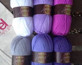 Granny stripe crochet blanket kit DK 'Heather' - purple and lilac - various sizes
