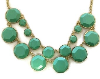 Mint and Gold Necklace, Mint Statement Necklace, Seafoam Necklace, Mint and Gold, Mint Jewelry, Mint Necklace, Mint, Gift for Friend,