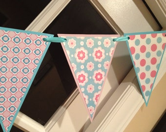 Pink and Teal Pennant Bunting Card Stock Banner