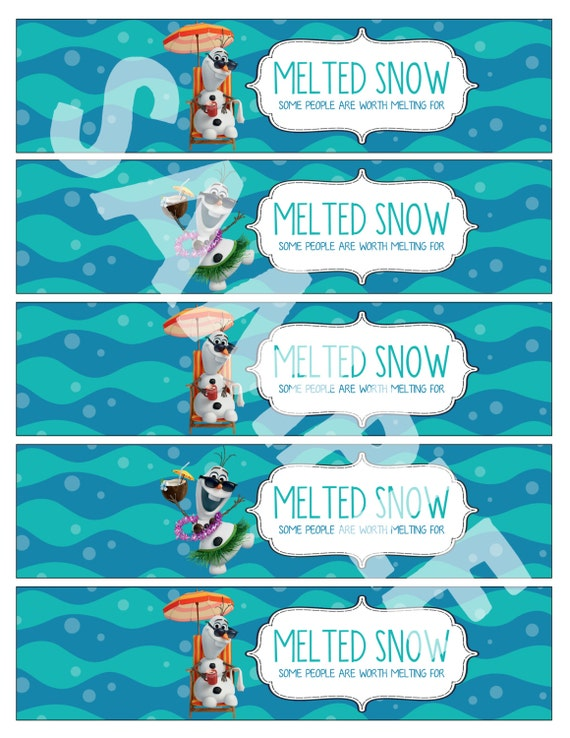 Frozen Printable Water bottle labels Melted Snow