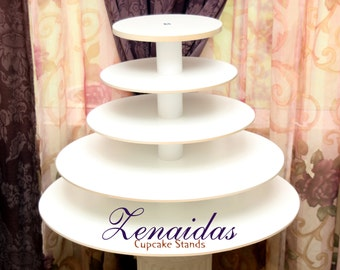 Cupcake Stand White Melamine 5 Tier 150 Cupcakes with Threaded Rod Wood Cupcake Tower Wedding Stand Birthday Stand Display Stand
