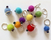 Knitting stitch markers: 10 rainbow felt stitch markers for snagfree knitting - UK seller