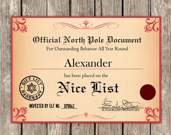 Santa's Nice List Certificate from the North Pole - Editable PDF - DIY Printable