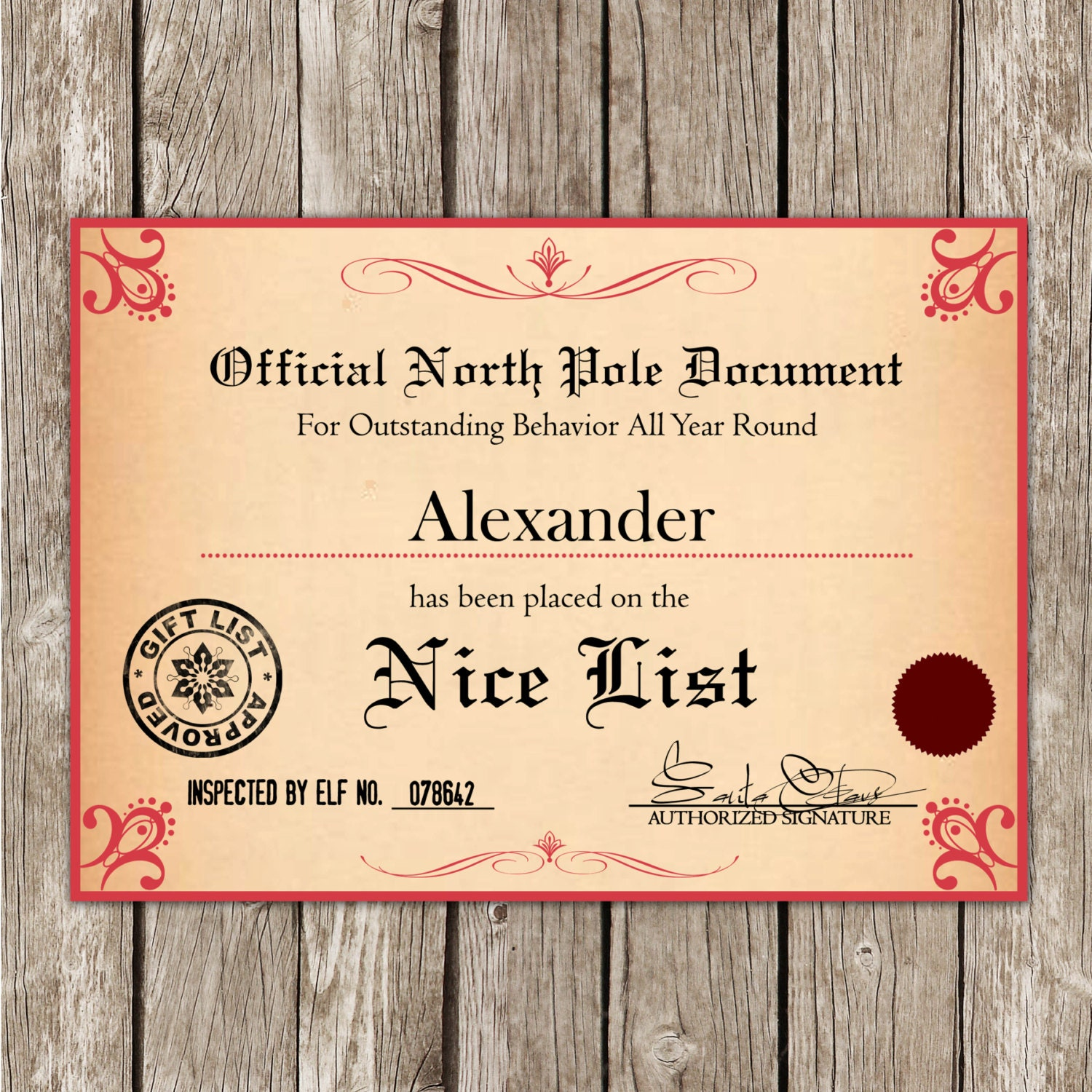 santa s nice list certificate from the north pole 🔎zoom