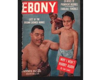 Vintage Magazine Cover, Ebony, November, 1952 , (Joe Louis) 072