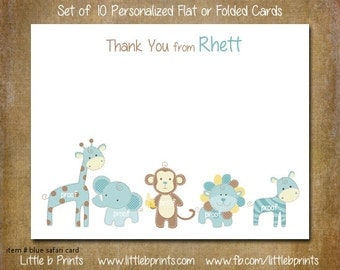 Baby Blue Safari Animals Note Cards Set of 10 personalized flat or folded cards Thank You Cards Invitations