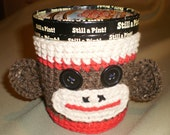 Ice Cream Pint Cozy - Sock Monkey Style -- Hand Crafted