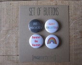 Set of 4 Equal Rights Pinback Buttons, Small Backpack Pins, 1 inch Gay Pride Button Pins, Rainbow Badge, LGBT pin button
