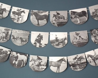 Vintage Horse Bunting, Horse Garland, Horse Decoration, Up Cycled, Black and White, Pony Bunting, Book Bunting, Horse Decor,  Vintage Horses