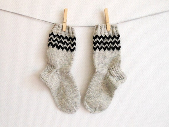 Knit wool socks in black and grey, women's hiking socks, small size