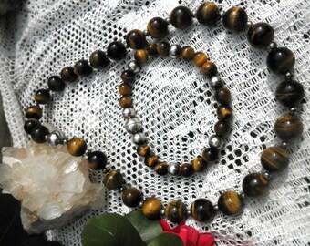 Milor Genuine Tigers Eye Necklace and Matching Bracelet Set