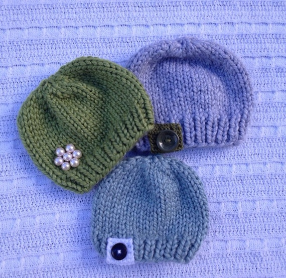Knitting Pattern Basic Beanie : PDF knitting pattern Basic simple baby beanie hat chunky