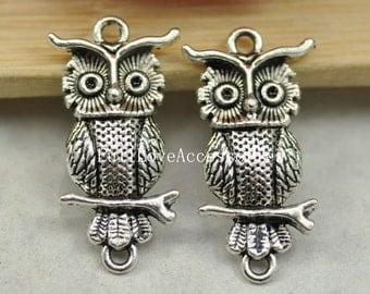 10pcs Antique Silver Cute Owl Charms Connector 15x33mm Antique Silver Charms Pendant