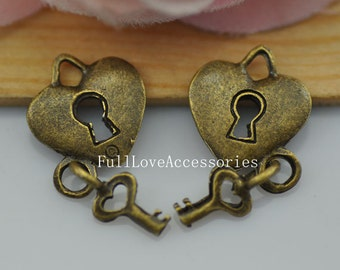 15pcs 14x15mm Vintage Style Antique Brass Heart Lock and Key Charm Pendant, Lcok and Key Charms Connectors