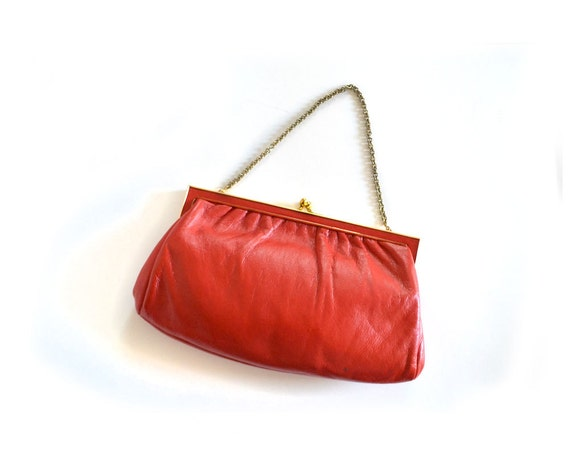 rot kupplung rote handtasche red bag leder clutch vintage. Black Bedroom Furniture Sets. Home Design Ideas