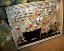 Reverse Glass Silhouette Photography Wall Hanging Rare 1920's - 30's F W Brehm Western Wagon Inspirational Poem Milkweed Matte Dried Flowers