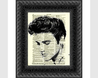Elvis Presley Art Printed On An Upcycled 1897 Dictionary Art Page Elvis Wall Decor