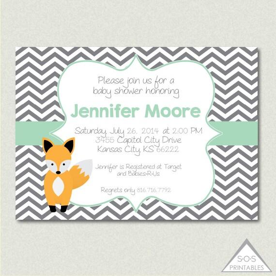 fox baby shower invitation printable pdf by sosprintables on etsy