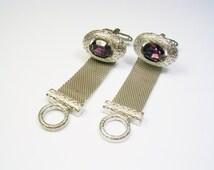 Vintage DANTE Cufflinks, silver tone, Mesh Wrap, Birth Stone, Groomsman, Men Wedding Formal Wear Jewelry Gentleman Groom Tuxedo