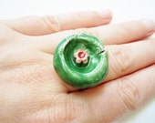 Red on green adjustable floral ceramic ring, romantic St Patrick spring jewelry, handmade pixie fairy jewelry