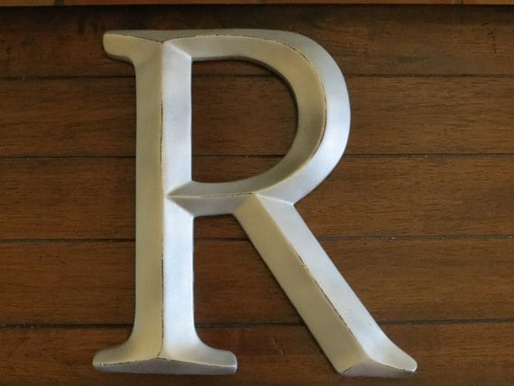 Silver Letters Wall Decor : Letter r inch wall silver or pick color mantle