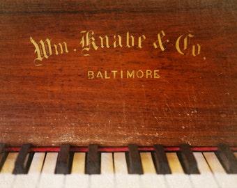 Fine Art Photography-Antique- Knabe- Piano -1800's-art print-home decor-musical instruments-black keys-brown-8x10