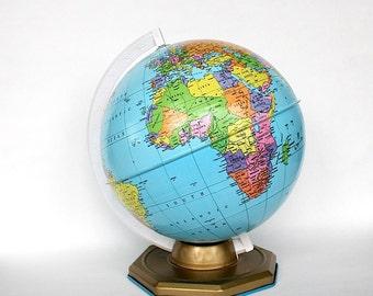 World Globe - Vintage Globe - Office Decor - Colorful Desk Globe - Globe Decor - Chein Toy Globe - Earth Globe - Metal Globe