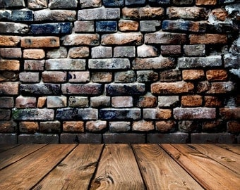 Brown Brick and wood floor 2 in one backdrop