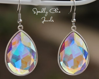Clear AB Swarovski Teardrop Earrings