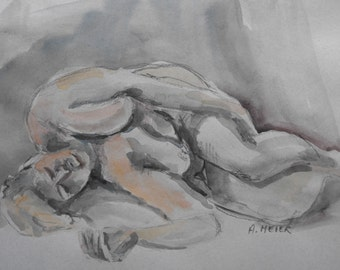 Original figure study, watercolour on paper, from live female model, 9 X 12, Figure 51
