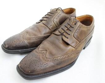 1960 Vintage Leather Brown Brogue Shoes for Men / EU size: 41 / US/Canada size 8