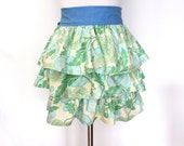 Blue and Green Ruffle Apron with Blue Ties Perfect Gift  for the Holidays