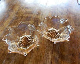 2 Peach Flower bowls
