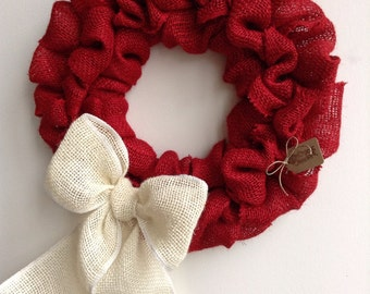 Burlap Valentines Wreath, Valentines Day Wreath, Bubble Wreath, Red Wreath, Rustic Wreath, Everyday Wreath, Holiday Wreath, Christmas Wreath