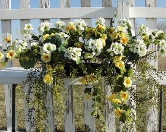 White Geraniums Yellow Azaleas Silk Window Box Flowers