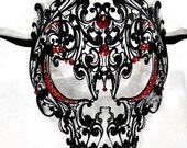Skull Laser Cut Metal Mask With Red Rhinestone Masquerade Mask