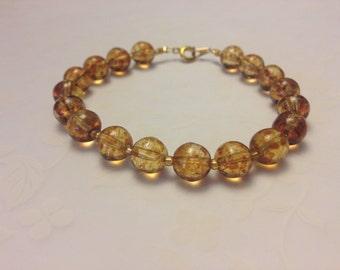 Amber Crystal Quartz Bracelet, Caramel Picasso Crystal Quartz Bracelet
