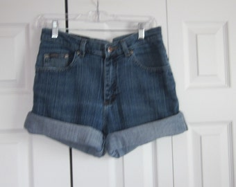 Vintage Cut Off Denim Shorts High Waisted Shorts Stretch Denim Mom Shorts Hipster Womens Riders Cutoffs Jean Shorts   GS97