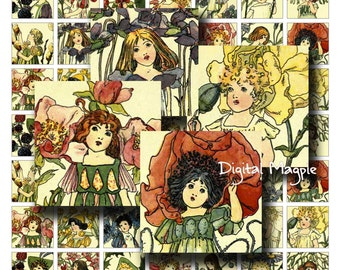 Digital collage sheet Vintage Flower Children 1 inch squares printable inchies for instant download