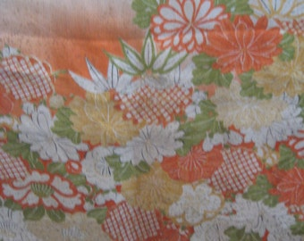 SF1153  Vintage Japanese Purple, neutral and orange with flowers Screen Dyed on Silk Fabric