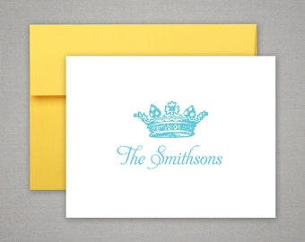 Bridesmaid Gift  | Teacher Gift | Printed Notecards | ROYAL CROWN | Personalized Stationery | Set of 8